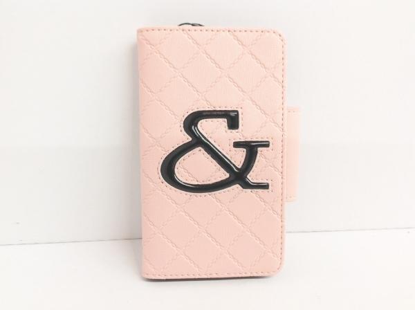 アンドバイピンキー&ダイアン 携帯電話ケース ピンク×黒 キルティング/iPhone6用