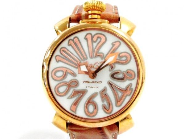 ガガミラノ 腕時計 マヌアーレ40 - レディース 型押し革ベルト/シェル文字盤
