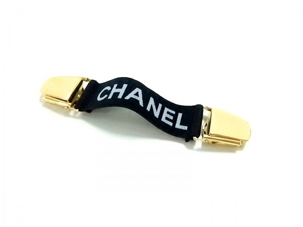 CHANEL(シャネル) 小物新品同様  黒×ゴールド アームバンド ラバー×金属素材