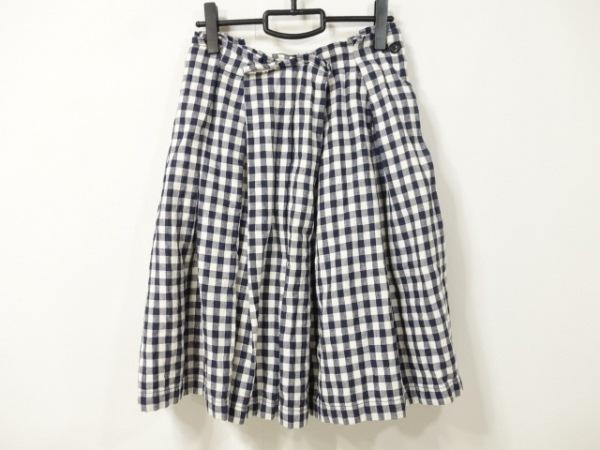 トリココムデギャルソン スカート サイズS レディース ネイビー×白 チェック柄