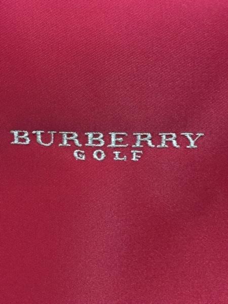 バーバリーゴルフ ハンドバッグ美品  レッド×ライトブラウン ナイロン×レザー