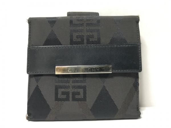 GIVENCHY(ジバンシー) Wホック財布 ダークブラウン×黒 ナイロンジャガード