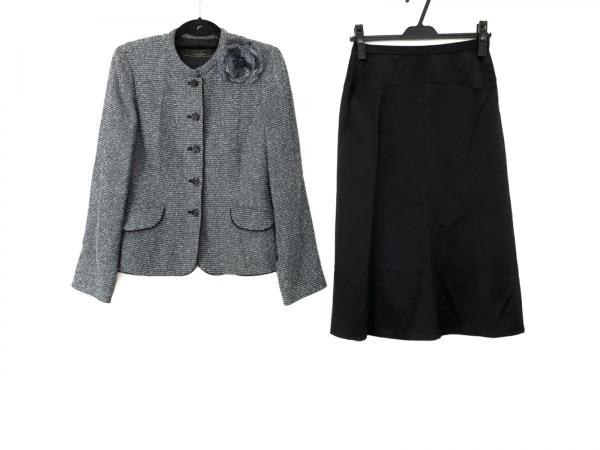 Leilian(レリアン) スカートスーツ サイズ9 M レディース 黒×ライトブルー ラメ