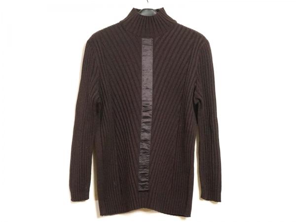 エスカーダ 長袖セーター サイズ38 L レディース美品  ダークブラウン×黒 ハイネック