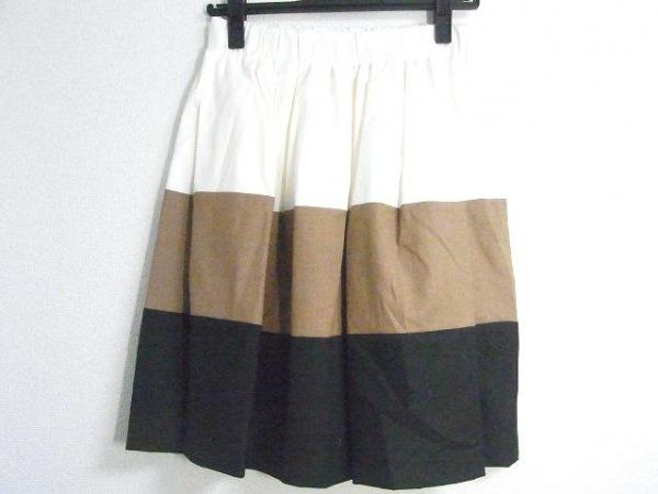 ドレステリア スカート レディース美品  アイボリー×ライトブラウン×黒
