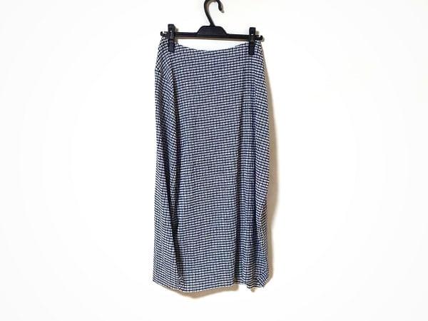ジルサンダー ロングスカート サイズ34 XS レディース美品  ネイビー×アイボリー
