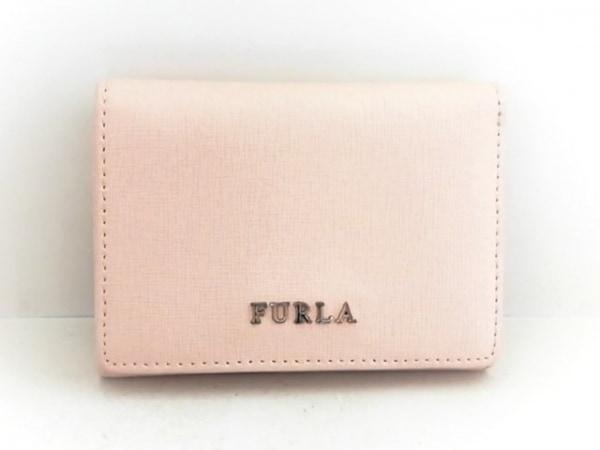FURLA(フルラ) 3つ折り財布 ピンクベージュ パスケース付き レザー