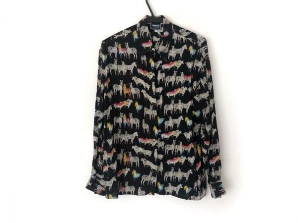 ヴェルサーチジーンズ 長袖シャツ サイズS レディース美品  黒×マルチ