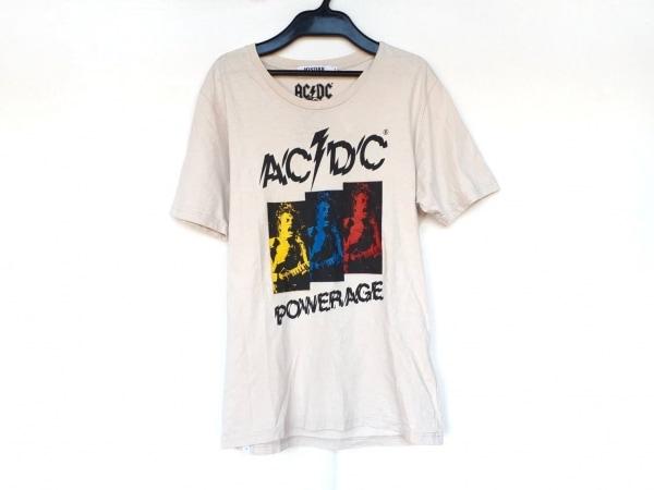 ヒステリックグラマー 半袖Tシャツ サイズS レディース アイボリー×黒×マルチ AC/DC