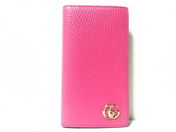 グッチ 携帯電話ケース プチマーモント 476778 ピンク iPhone 7・8 /手帳型ケース
