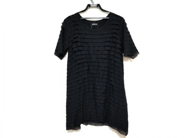 ZUCCA(ズッカ) ワンピース サイズM レディース美品  - - 黒 クルーネック/半袖/ひざ丈
