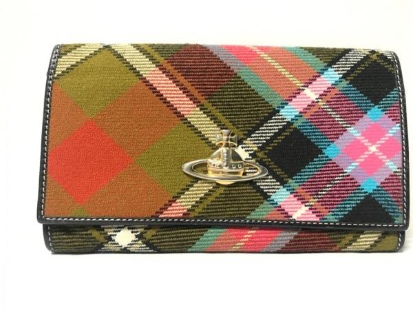 ヴィヴィアンウエストウッド 長財布 - - 黒×レッド×マルチ チェック柄