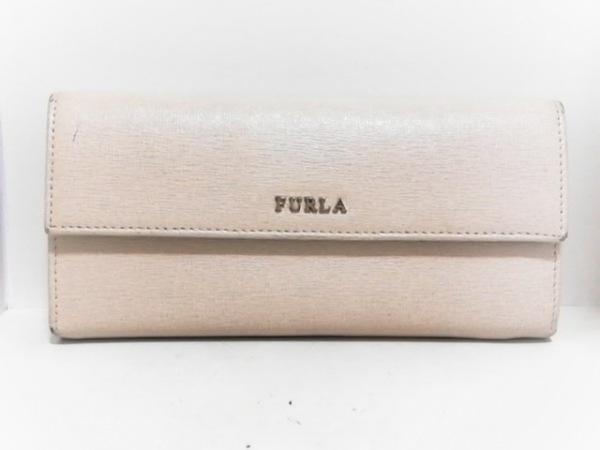 FURLA(フルラ) 長財布 ベージュ×ボルドー L字ファスナー レザー