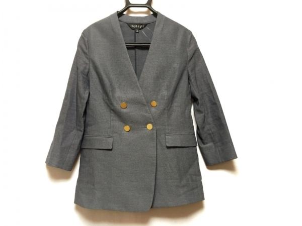 INDIVI(インディビ) ジャケット サイズ38 M レディース美品  ネイビー×グレー