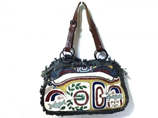 JAMIN PUECH(ジャマンピエッシェ) トートバッグ アイボリー×グレー×マルチ 刺繍