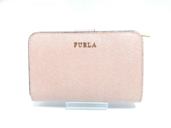 FURLA(フルラ) 2つ折り財布 ピンクベージュ L字ファスナー レザー