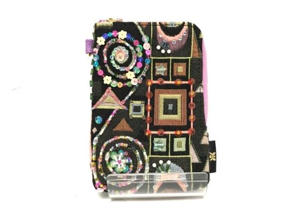 シンクビー シガレットケース美品  黒×マルチ スパンコール/ビーズ コットン×レザー