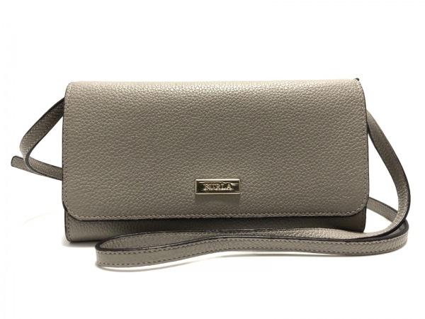 FURLA(フルラ) 財布美品  グレー ショルダーウォレット(ストラップ取外し可) レザー