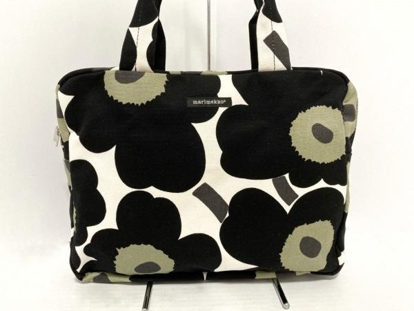 marimekko(マリメッコ) ショルダーバッグ 黒×カーキ×白 花柄 キャンバス