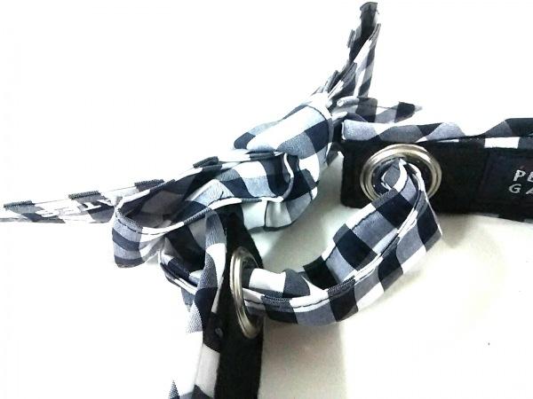 パーリーゲイツ サンバイザー 白×黒×グレー チェック柄 コットン×ポリエステル