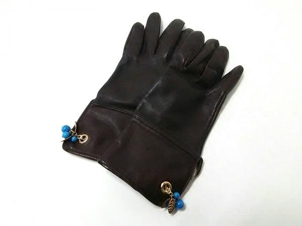 Guy Laroche(ギラロッシュ) 手袋 21cm レディース美品  ダークブラウン レザー