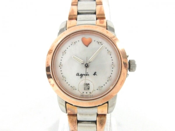 agnes b(アニエスベー) 腕時計 7N82-0BM0 レディース シェル文字盤 白