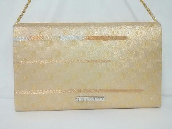 mikimoto(ミキモト) ショルダーバッグ美品  ゴールド パール/2way 化学繊維