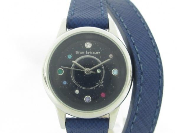 STAR JEWELRY(スタージュエリー) 腕時計美品  - レディース ラインストーン ネイビー