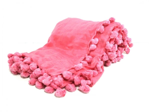 SHIPS(シップス) マフラー美品  ピンク シルク シルク×天然繊維