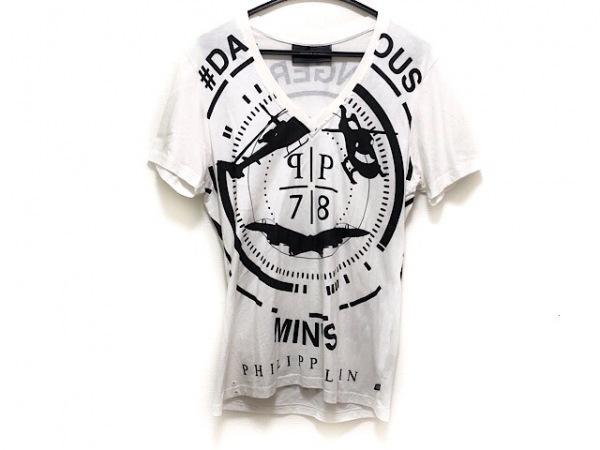 PHILIPP PLEIN(フィリッププレイン) 半袖Tシャツ サイズM メンズ 白×黒 HOMME