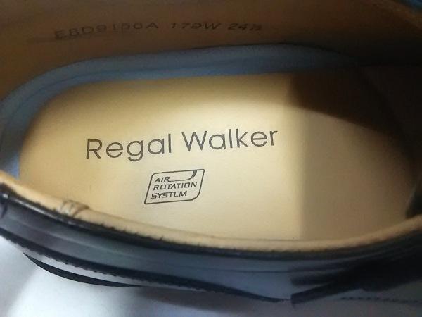 リーガル シューズ 24 1/2 メンズ 黒 Regal Walker/インソール取り外し可 レザー