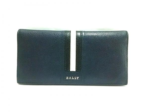 BALLY(バリー) 長財布 トリゴ ダークネイビー×白×黒 レザー 1