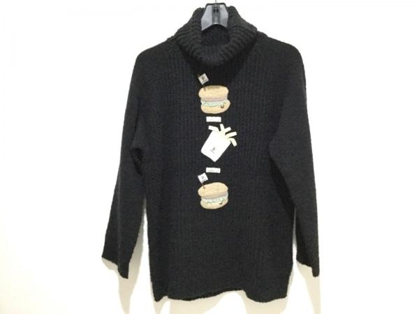ポテチーノ 長袖セーター レディース 黒×ライトブラウン×マルチ タートルネック
