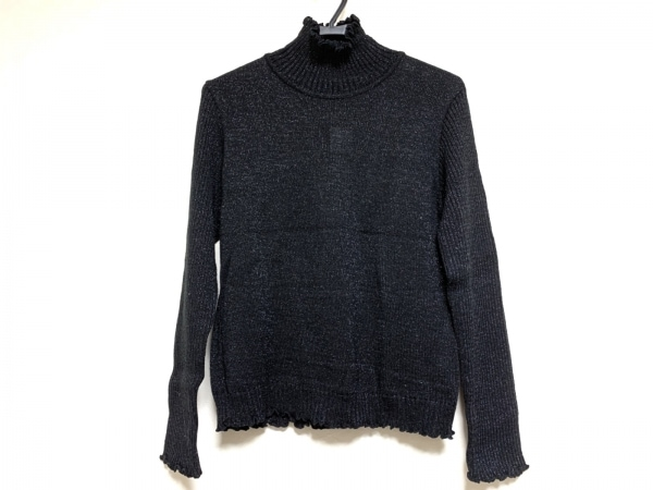 potechino(ポテチーノ) 長袖セーター レディース 黒 ハイネック/ラメ