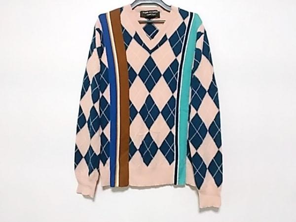 コムデギャルソンオムプリュス 長袖セーター メンズ ピンク×ネイビー×マルチ