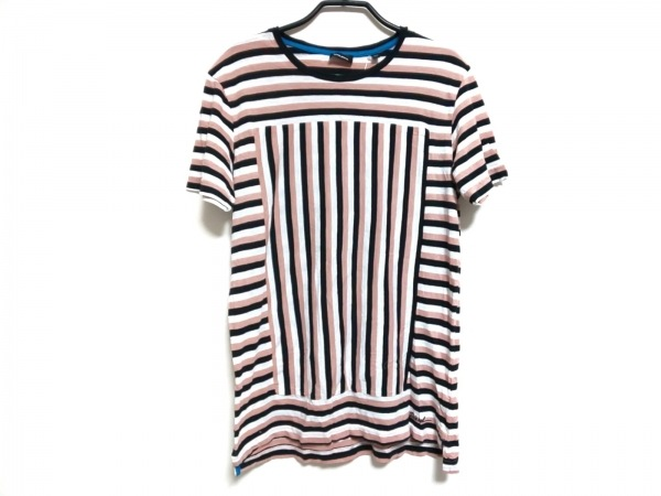 DIESEL(ディーゼル) 半袖Tシャツ サイズXS メンズ 黒×白×ピンク