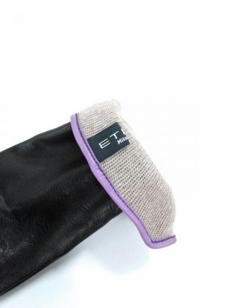 ETRO(エトロ) 手袋 7.5 レディース新品同様  黒×ピンク レザー