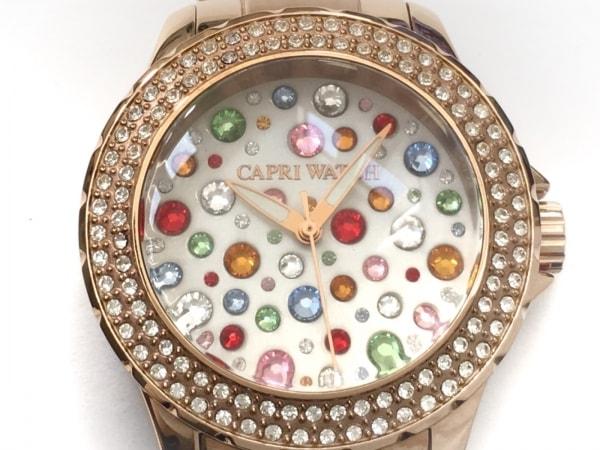 カプリウォッチ 腕時計 316L レディース ラインストーンベゼル 白×マルチ