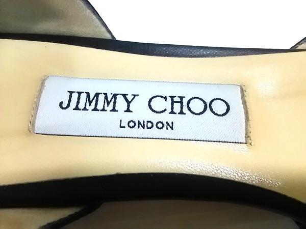 JIMMY CHOO(ジミーチュウ) シューズ 38 1/2 レディース 黒×白 アウトソール張替済