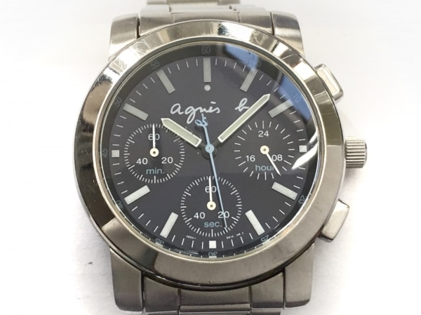 agnes b(アニエスベー) 腕時計美品  V654-0A10 メンズ クロノグラフ ネイビー