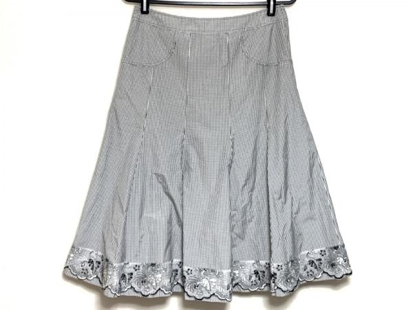 ROSSA(ロッサ) スカート サイズ42 L レディース 白×黒 チェック柄/レース