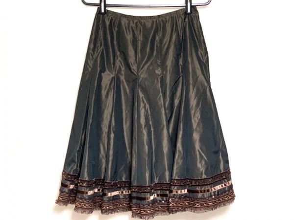 ROSSA(ロッサ) スカート サイズ42 L レディース ダークブラウン スパンコール/ビーズ