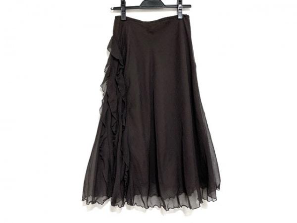 ソニアリキエル ロングスカート サイズ38 M レディース美品  ダークブラウン フリル