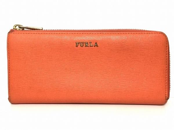 FURLA(フルラ) 長財布 オレンジ L字ファスナー レザー