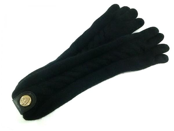 GUCCI(グッチ) 手袋 レディース 黒 カシミヤ×レザー