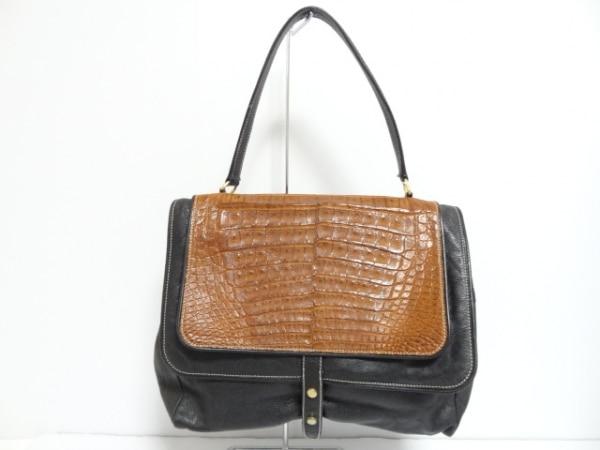 ROSSA(ロッサ) ハンドバッグ美品  黒×ブラウン 型押し加工 レザー