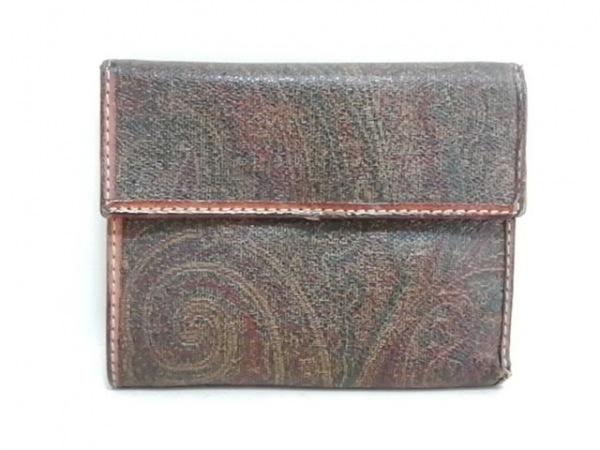エトロ 2つ折り財布 ダークブラウン×ブラウン×マルチ PVC(塩化ビニール)×レザー