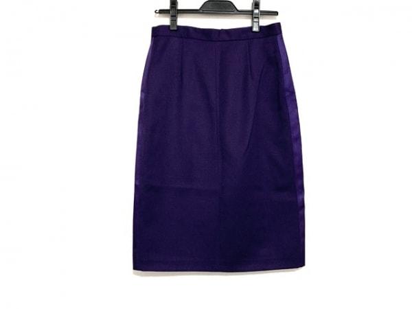 アンナモリナーリ スカート サイズ42 M レディース美品  パープル×カーキ×マルチ