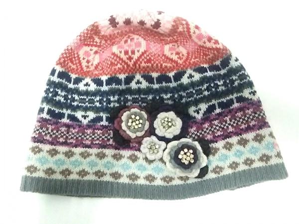 オッドモーリー ニット帽美品  グレー×マルチ フラワー/ビジュー ウール×ナイロン