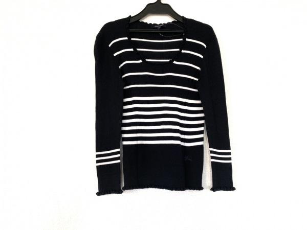 バーバリーロンドン 長袖セーター サイズ1 S レディース ダークネイビー×白